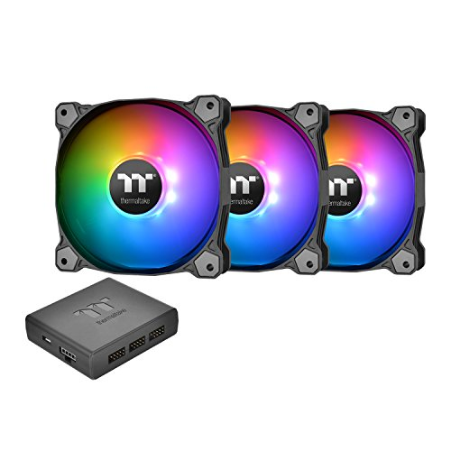 Thermaltake Pure Plus 12 RGB TT Premium Edition 120mm Software Enabled Circular 9 Controllable LEDs RGB PWM Case Radiator Fan 3Pack, TT RGB PLUS Software, AI Interactive Voice Control CL-F063-PL12SW-A by Thermaltake