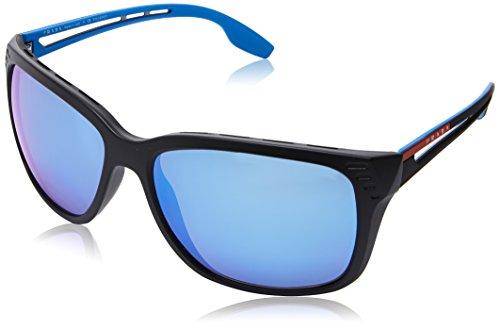 Prada Linea Rossa  Men's 0PS 03TS Matte Black/Polarized Dark Grey Mirror One - Prada Sunglasses Logo