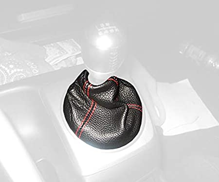 RedlineGoods shift boot tailor-made for Honda Civic 2006-11 Black leather-Red thread Redline Automotive Accessories Corp