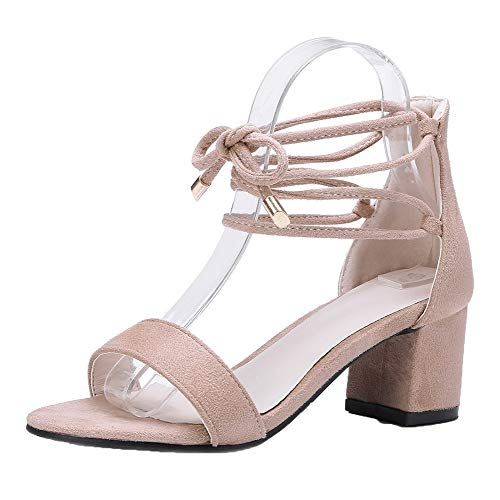 up Women CCALP014975 apricot Kitten Sandals Frosted Toe VogueZone009 Lace Solid Heels Open ZfU1nY1