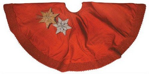 Arcadia Home TS0503R Silk Christmas Tree Skirt with Red Pebble Border , Red
