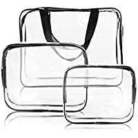 3Pcs Clear Cosmetic Bag Vinyl Air Travel Toiletry Bags Bulk, Water Resistant PVC Packing Cubes with Zipper Closure & Carry Handle for Women Baby Men, Make-up brush Case Beach Pool Spa Gym Bag