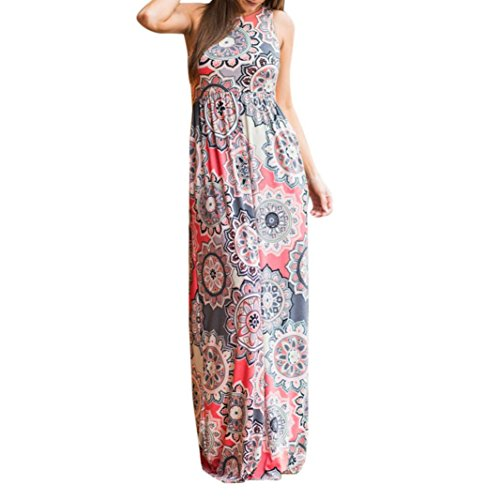 AmyDong Hot Sale! Ladies Dress Women Sleeveless Floral Print Maxi Dress with Pockets Ladies Summer Beach Skirts and Skirts Elegant Dress (XL, Pink ()