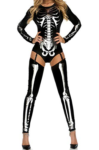 Dawdyfu Women Sexy Halloween Skeleton Print Costume Stretch Skinny Garter Catsuit Jumpsuit