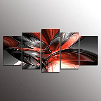 wall art paintings for living roomAmazoncom Red Black Grey Abstract Canvas Wall Art Pictures