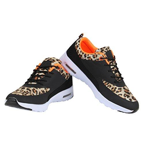 Stiefelparadies Damen Sportschuhe Runners Sneakers Laufschuhe Fitness Trendfarben Sportliche Schnürer Flandell Leopard
