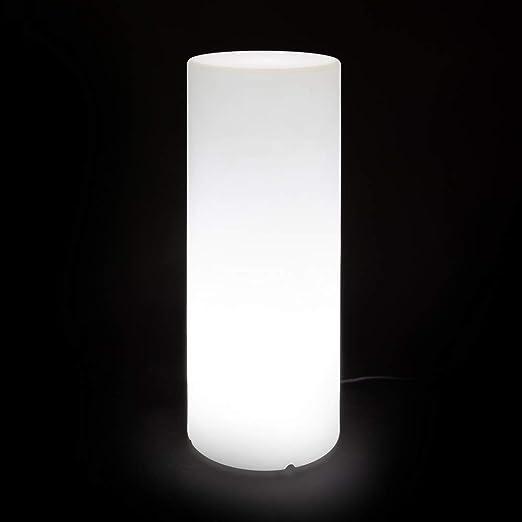 Lámpara de pie para Interior y Exterior de plástico Blanca Moderna ...