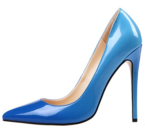 AOOAR Womens Plus Size Two-toned Stiletto Pumps Blue Patent O9OMSega