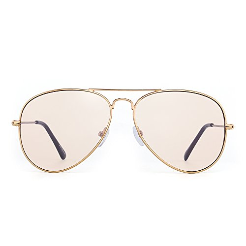 Blue Light Blocking Computer Reading Glasses, Retro Aviator Style Reduce Eye Strain Anti Glare Clear Lens Video Eyeglasses Men Women (Gold/Brown)