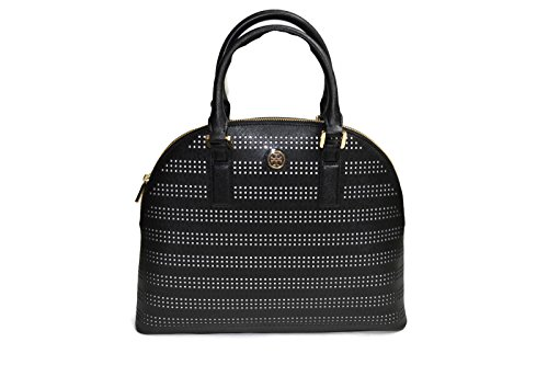 Tory Burch Robinson Perforated Zip Top Dome Satchel In Black