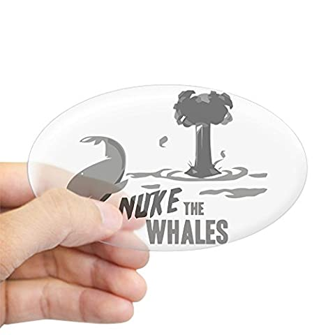 CafePress - Nuke The Whales Oval Sticker - Oval Bumper Sticker, Euro Oval Car Decal (Nuclear Bomb Decal)