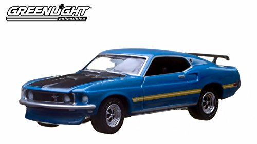 1969 Ford Mustang Fastback Mach 1 Blue 10th Greenlight Anniversary Collection 1/64 by Greenlight (Mach 1 Body)