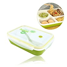 Yosoo Silicone Leakproof Rectangular Lunch Bento Box for Kids Adults, Microwave Safe Food Container - 4 in 1 - 3-Compartment 1-Bowl 1-Spoon (Green)