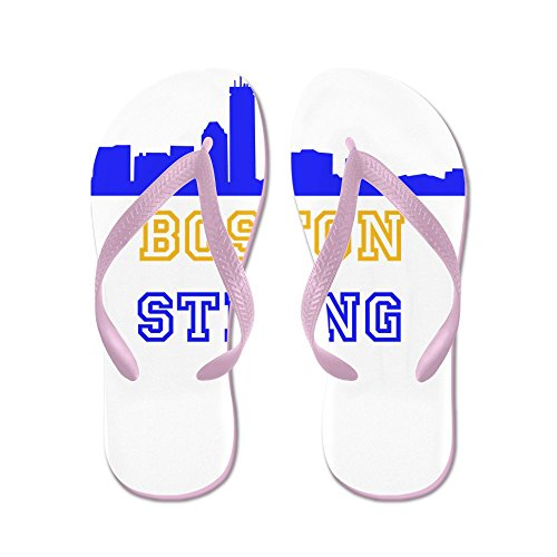 CafePress Boston Strong Skyline Blue and Gold - Flip Flops, Funny Thong Sandals, Beach Sandals Pink