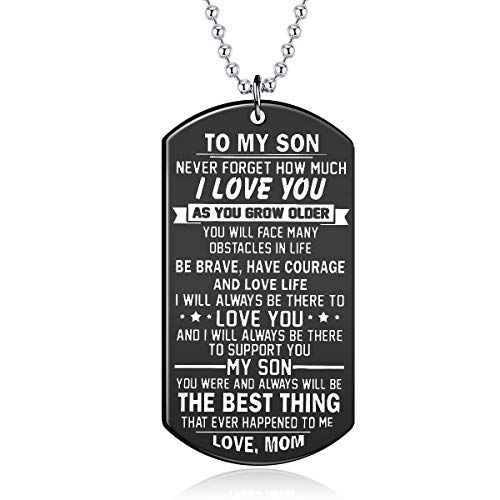 (danjie Stainless Steel Dog Tag Letters to My Son.Love mom Pendant Necklace,Inspirational Gifts for Son Jewelry (Nkc085, Black-Plated-Stainless-Steel))