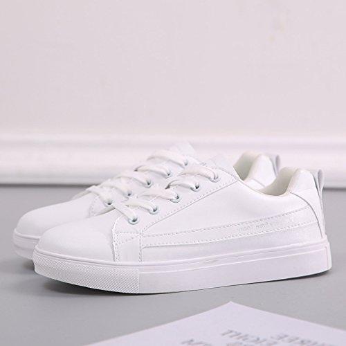 Respirantes Blanc Chaussures Flat Chaussures Lace Shoes Up Basses à décontractées de roulettes Lady Planche Sneakers 1S1FqR