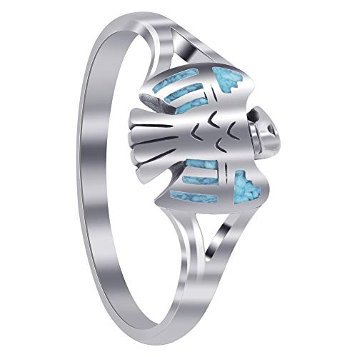 925 Sterling Silver Southwestern Eagle Design Ring with Turquoise Inlay Ring Size 9