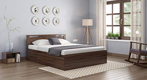 Urban Ladder Pavis Queen Size Engineered Wood Bed with Storage  Walnut Finish