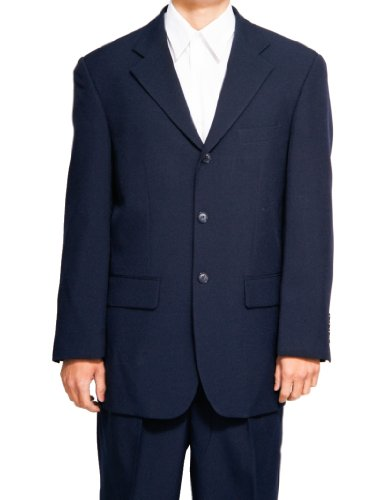 New Men's 3 Button Single Breasted Navy Blue Dress Suit ()