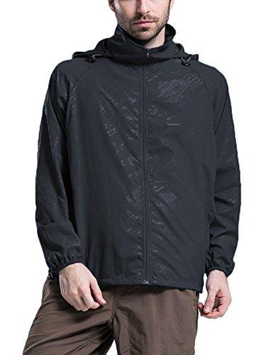 LANBAOSI Men's Super Lightweight UV Protect+Quick Dry Windproof Skin Jacket Black