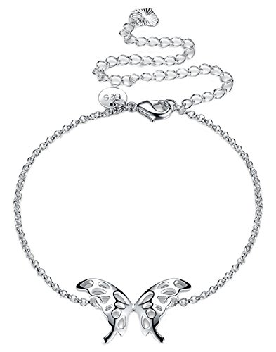 Greendou Fashion Jewelry 925 Silver Butterfly Wings Adjustable Chain Anklet