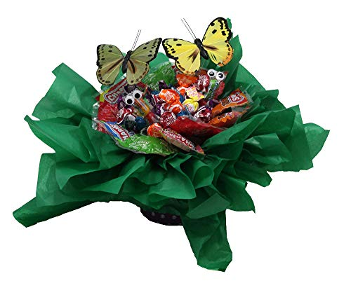 Candy Bouquet, Great Gift for any Occasion. Creative Edible Lollipop Flower with Gobstopper Crawlies and Butterflies
