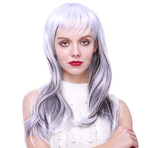 Women Long Silver Witch Wig For Halloween Cosplay Costume Wigs -