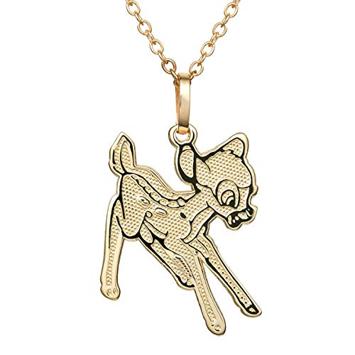 (Disney Bambi 10K Gold Bambi Necklace with Gold Filled 18