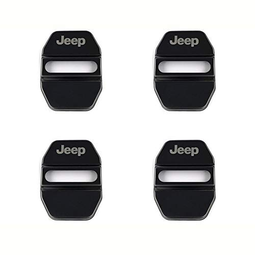 Infinity-Deal 4PCS Stainless Steel Car Door Lock Cover Protective Case Sticker for Jeep Styling Replacement Auto Accessories (Black)