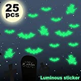 Santery 25 Pack Halloween Bat Witch Wall Decals Luminous Light Sticker Decoration Glow in The Dark Removable for Kids Room