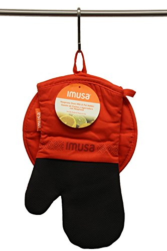 Imusa Oven Mitt & Potholder Set w/Neoprene for Easy Gripping, Heat Resistant up to 500 Degrees F, Red