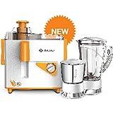 Bajaj Neo JX4 450 W Juicer Mixer Grinder JMG (White, Orange, 2 Jars)