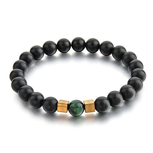 Ino Supply Men Women 8mm Stone Bead Bracelet (19, Matte Onyx Stone)
