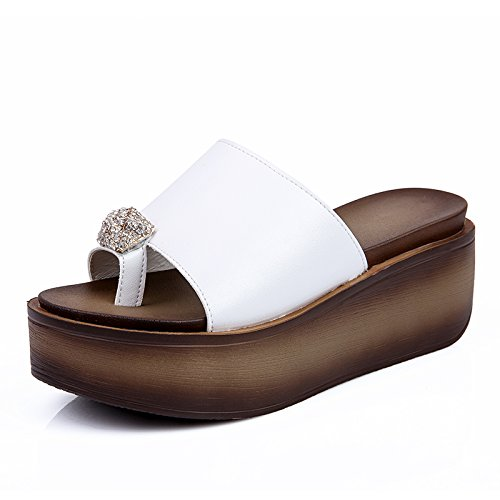 in and slippers the sandals cool 38 and slippers girl sandals Thick versatile summer female White the girl fankou fwqpI0O