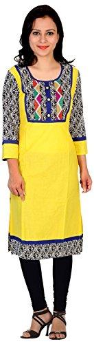 RISHABH-Womens-Cotton-Straight-Kurta-Medium-Yellow
