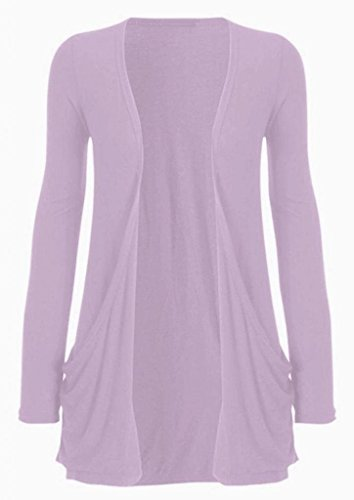 Hot Hanger Ladies Plus Size Pocket Long Sleeve Cardigan 16-26 (16-18 LXL, Lilac)