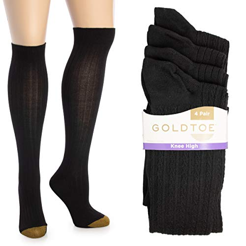 Gold Toe (4 Pairs) Womens Socks, Knee High Socks, Cute Socks, Extra Long Socks For Women, Girls, Ladies, Size 9-11, Pack