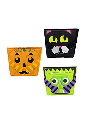 Frankenstein Costume Cat (Set of 3 Halloween Character Trick or Treat Bags, One Jack-O-Lantern, One Frankenstein, One Black)