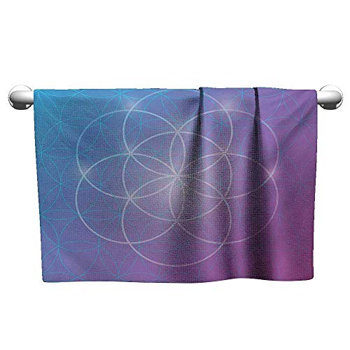 alisoso Sacred Geometry,Small Bath Towels Round Forms in Two Dimensional Space Axis Historical Artifact Image Microfiber Sports Blue and Purple W 10