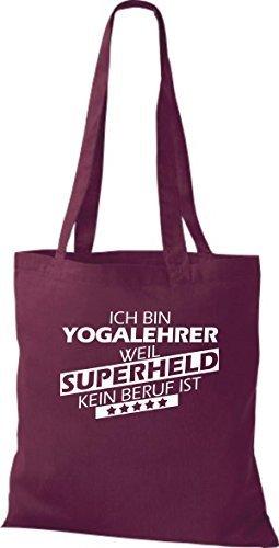 Shirtstown Bolso de tela Estoy Profesor de yoga, weil Superheld sin Trabajo ist Burdeos