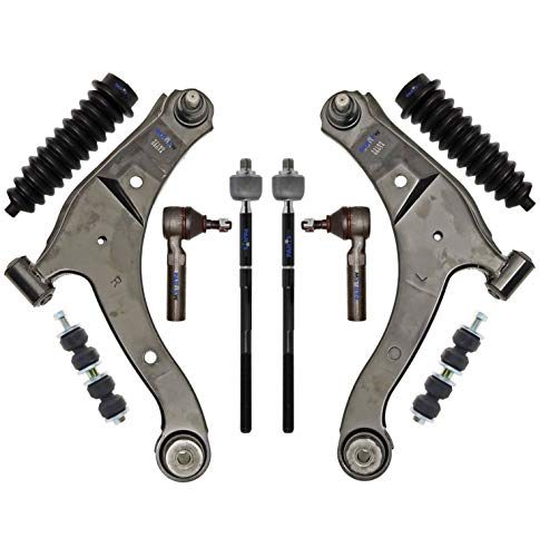 PartsW 10 Pc Front Suspension Kit for Chrysler PT Cruiser/Dodge Neon/Dodge SX 2.0 / Plymouth Neon/Lower Control Arms and Ball Joints, Tie Rod Linkages, Sway Bar End Link, Bellow Boot