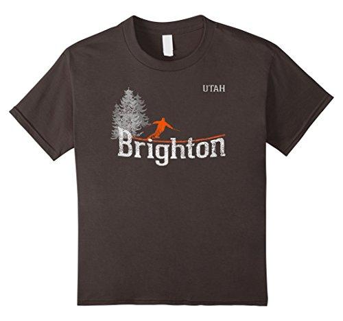 Brighton Ski (Kids 1980s Style Brighton Utah Vintage Skiing T Shirt 8 Asphalt)
