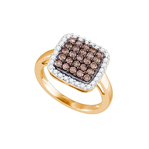 10kt Rose Gold Womens Round Cognac-brown Colored Diamond Square Cluster Fashion Ring 1.00 Cttw - Diamond Square Cluster Ring