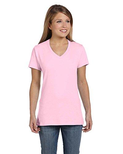 Hanes Women's Nano- V-Neck T-Shirt Pale Pink X-Large