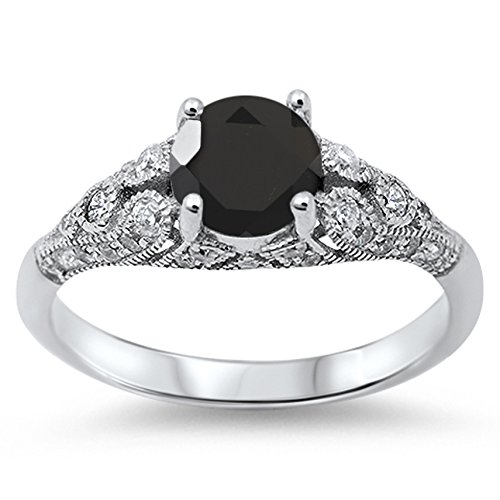 925 Sterling Silver Round Faceted Natural Genuine Black Onyx Vintage Wedding Ring Size 9