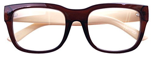 Nerd Geek Retro Eye Glasses Clear Lens Classic Oversized Square Horn Rim Spectacles (Brown - Frames Big Spectacles