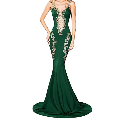Women's Lace Applique Spaghetti Straps Long Formal Mermaid Evening Prom Dresses