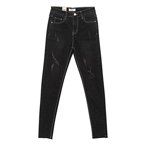 Lihaer Pantaloni A Stretti Vita Pantaloni Matita Denim Moda Donna Dritti Da Jeans Alta A Nero Elasticizzati rXnArF