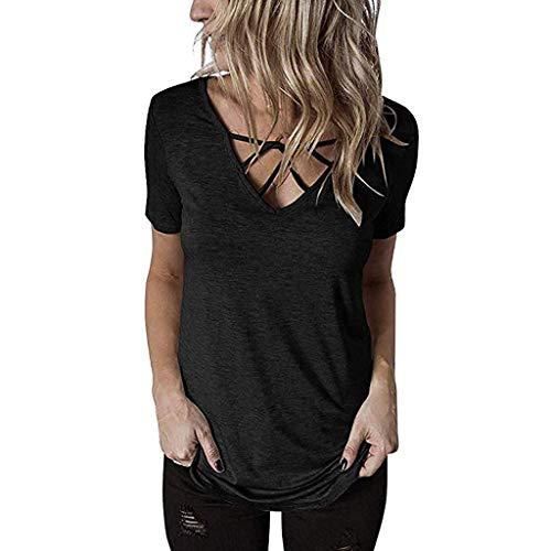 HIRIRI Women's Crisscross Summer Tops Short Sleeve T Shirts V-Neck Casual Tunic Tee Shirt Blouse Black