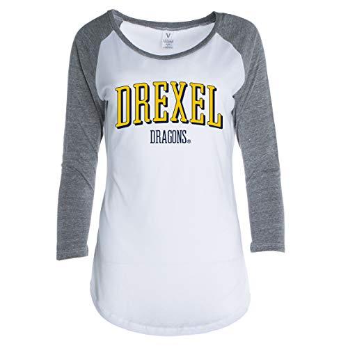 Official NCAA Drexel Dragons Women's Crew Neck Raglan Baseball T-Shirt